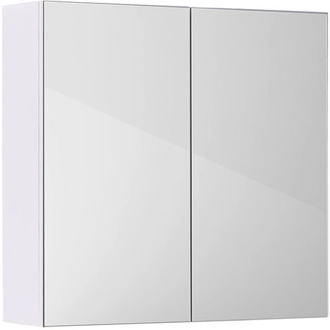Gloss White Bathroom Mirror Cabinet Wall Storage Cupboard Furniture 600mm