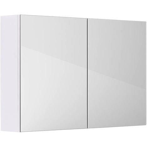 Gloss White Bathroom Mirror Cabinet Wall Storage Cupboard Furniture 800mm