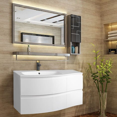 Gloss White Bathroom Vanity Basin Unit Wall Hung Left Curved Drawer Storage Cabinet Furniture 1000mm