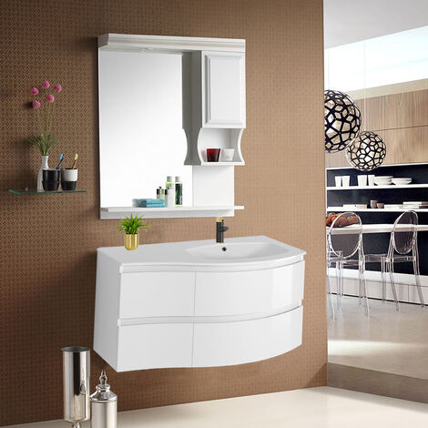 Gloss White Bathroom Vanity Basin Unit Wall Hung Right Curved Drawer Storage Cabinet Furniture 1000mm