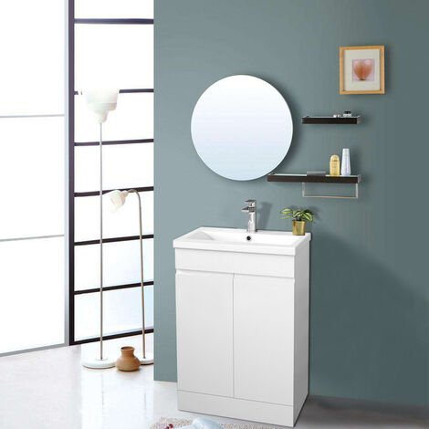 Gloss White Bathroom Vanity Sink Unit Basin Storage Cabinet Floor Standing Furniture 600mm