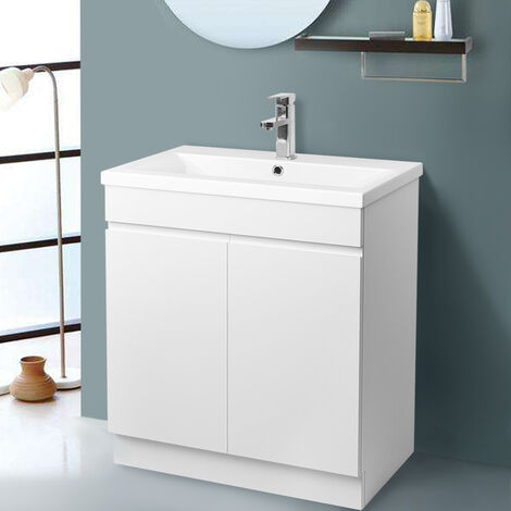 Gloss White Bathroom Vanity Sink Unit Basin Storage Cabinet Floor Standing Furniture 800mm