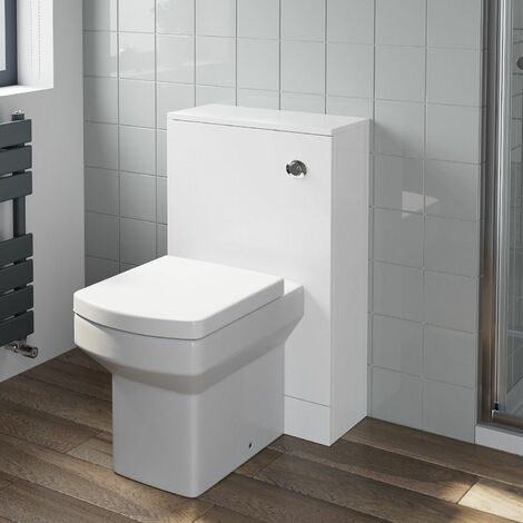Gloss White Concealed Cistern Unit Royan Toilet Bathroom Flat Pack 500 x 330mm