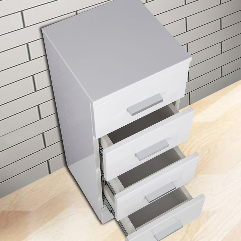NRG 300mm Gloss White Modern 4 Drawer Bathroom Cabinet Floor Standing Storage Furniture Unit