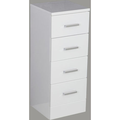 330mm Gloss White Modern 4 Drawer Bathroom Cabinet Floor ...