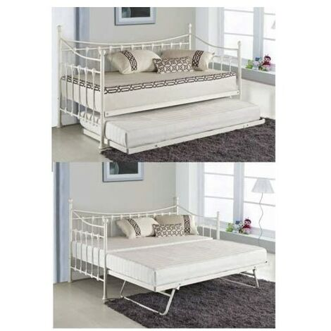 """main image of """"Glossy vanilla daybed off white with underbed trundle and 2 memory foam mattresses 3ft single day bed (daybed with 2 mattresses)"""""""
