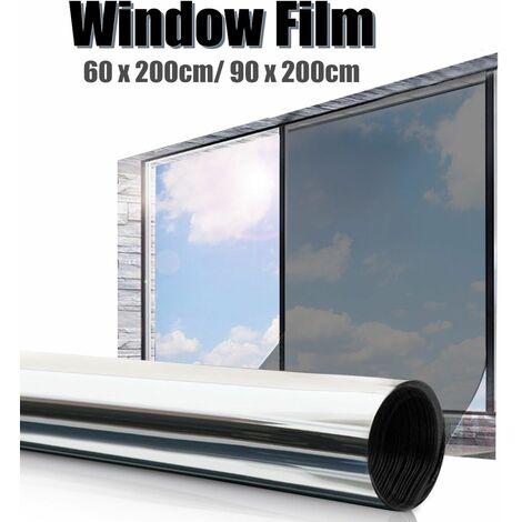 Glue-free glass film, solar protection membrane, window sticker, silver black, two sizes, PE film # 90 x 200 cm (silver, 90x200 cm)