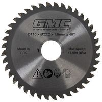GMC 586371 Tungsten Carbide-Tipped Saw Blade GTS1500 TCT Saw Blade 110 x 22.2 x 40T