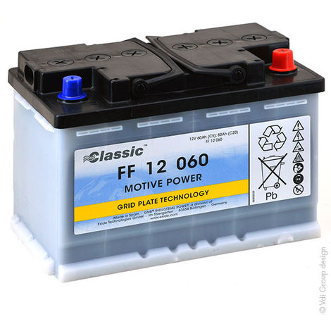 GNB Classic FF - Batería plomo de tracción MARATHON Classic FF12060 12V 60Ah Auto