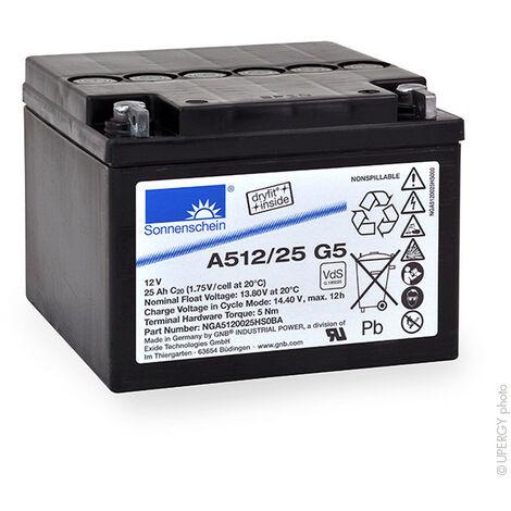GNB Sonnenschein A500 - GNB Sonnenschein A500 - Batterie plomb etanche gel A512/25G5 12V 25Ah M5-M