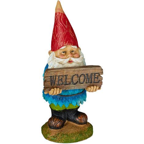 Gnomo de jardín «Welcome», Impermeable, Figura decorativa, Diseño clásico, Multi-color