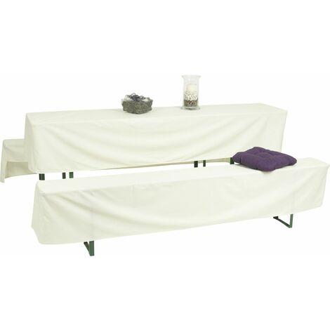 GO-DE Bierzeltgarnitur-Hussen weiß 220 x 50 x 42 cm, (50er Tisch)