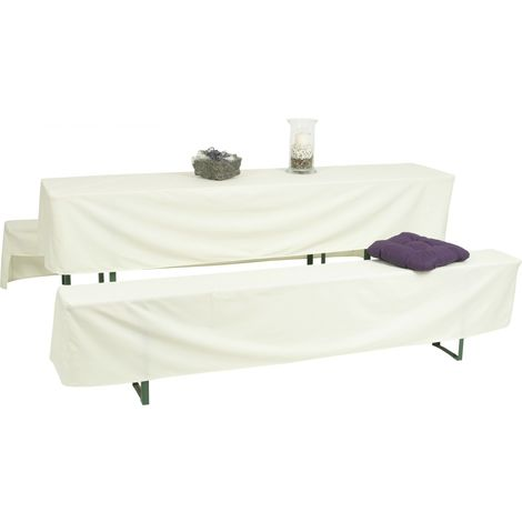 GO-DE Bierzeltgarnitur-Hussen weiß 220 x 70 x 42 cm, (70er Tisch)