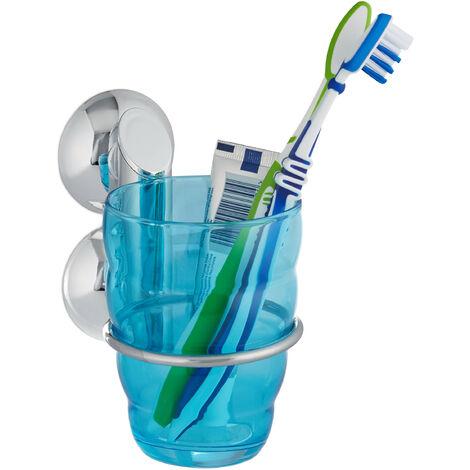 Gobelet porte brosse à dents sans perçage KNUTSCHI salle de bain HxlxP 10,5 x 8 x 10,5 cm, argenté