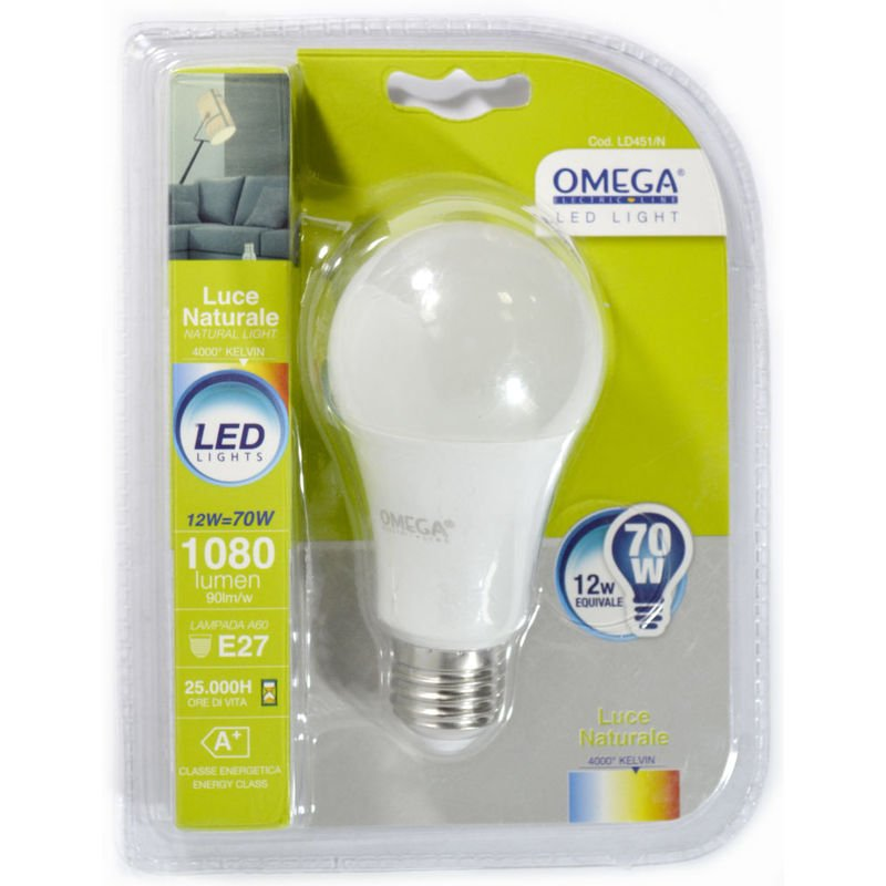 Omega - GOCCIA LED A60 12W 4000K 1000LM E27