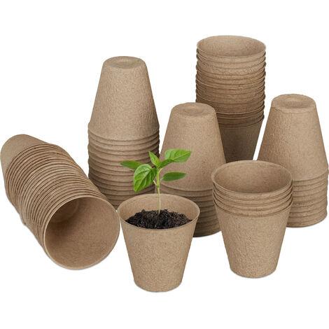 Godet pour semis jeu de 80, biodégradables; cellulose, HxD; 7,5 x 8 cm contenants ronds, pour légumes, nature