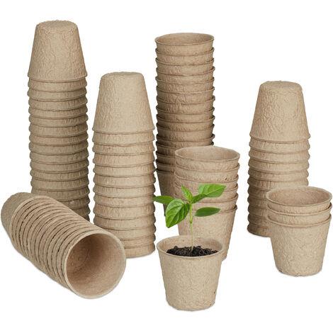 Godet pour semis, lot de 80, biodégradables, cellulose, HxD: 5x6 cm, pots ronds pour légumes, nature