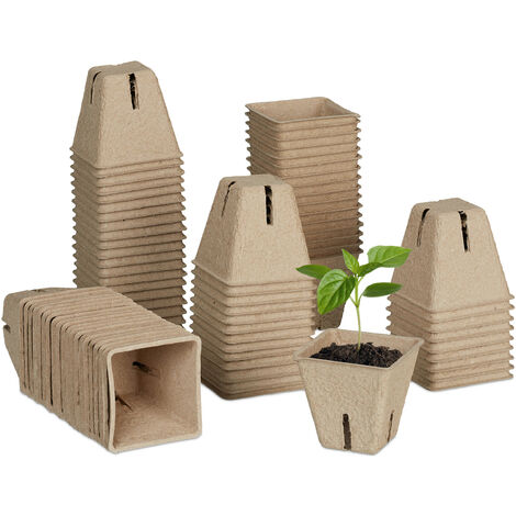 Godets pour semis jeu de 80, biodégradables, pots à fleurs en papier, carré, pots HxlxP 5,5 x 6 x 6 cm, nature