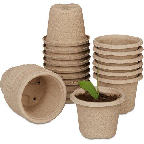 Godets semis biodégradables, lot de 24, cellulose, H x D 8 x 11 cm, pots de jardinage ronds, grand, nature