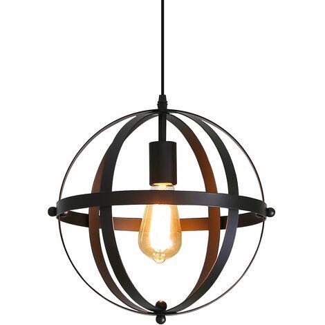 Goeco Lampe Suspension Industrielle Vintage, Lustre E27 Metal Suspension Câle Réglable 1,1 Mètres, Pour Escalier de Cuisine, Salon,