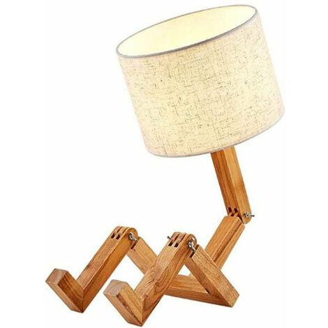 """main image of """"Goeco Lampes de Table en Bois Lampe de Bureau en Forme de Robot Créatif E27 Lumière de Lecture LED Pliable Réglable Flexible"""""""
