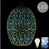 Gold 3D Multi Coloured Starburst Glass Ceiling Pendant Light Shade + 10w LED GLS Bulb - 3000K Warm White