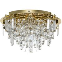 Gold 5 Way Lead Crystal Jewel Diamond Droplet Flush Ceiling Chandelier Fitting