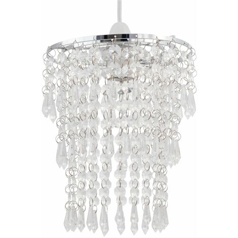 Gold & Amber or Chrome & Clear Ceiling Light Shade Pendant Modern Tiered Acrylic Crystal Jewels