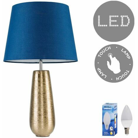 Gold Ceramic Touch Table Lamp + Navy Blue Light Shade + 5W Dimmable LED Candle Bulb Warm White - Gold