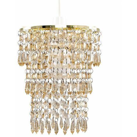 Gold & Champagne Jewel Acrylic Bead Ceiling Pendant Light Shade + 10W LED Gls Bulb - Warm White