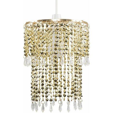 Gold & Champagne Jewel Acrylic Bead Ceiling Pendant Light Shade - No Bulb