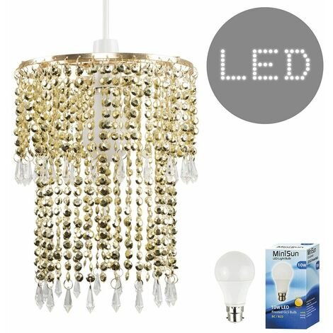 Gold Clear Acrylic Crystal Droplet Ceiling Pendant Light Lamp Shade