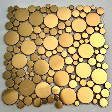 Gold coloured round mosaic tiles for floor and wall in stainless steel Focus Or
