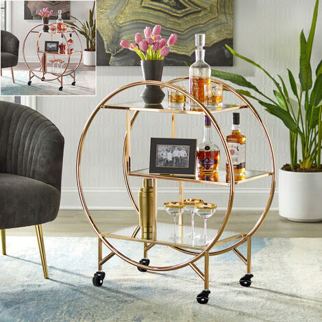 Gold Drinks Trolley with 3 Tiers Glass Shelf Art Deco Home Bar Cart