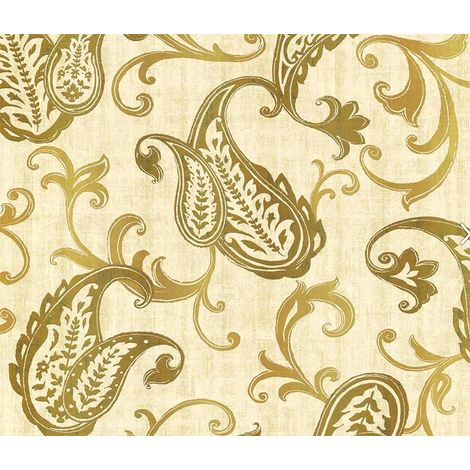 Gold Foil Floral Wallpaper Flower Leaves Metallic Paisley Rusty Natural Beige