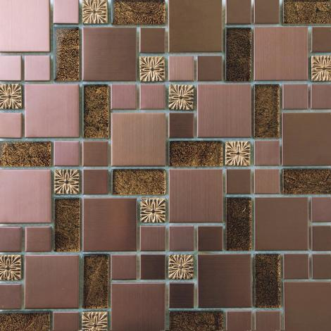 Gold Foil Glass & Brushed Copper Effect Stainless Steel Mosaic Tiles MT0165