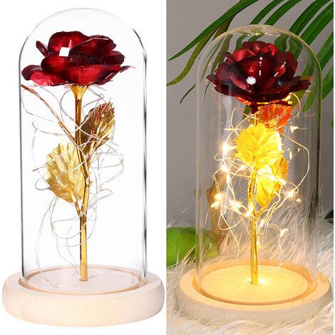 Gold Foil Leaf Forever Rose Flower with LED Light