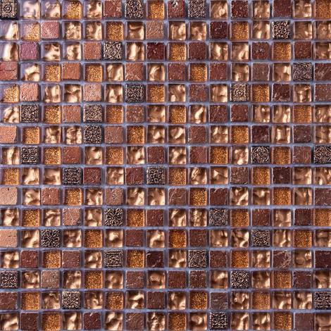Gold Glass & Brown Stone Mosaic Tiles MT0158