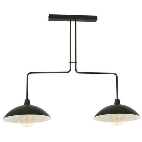 Gold Hanging Lamp - Chandelier - Ceiling - Black, White made of Metal, 108 x 37 x 84 cm, 2 x E27, 60W