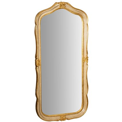 GOLD LEAF AND IVORY FINISH WOODEN FRAME Hanging Wall Mirror MADE IN ITALY