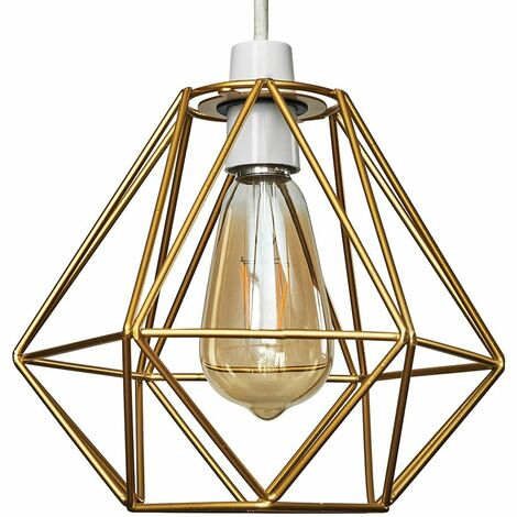 Gold Metal Ceiling Pendant Light Shade - 4W LED Filament Bulb Warm White - Gold