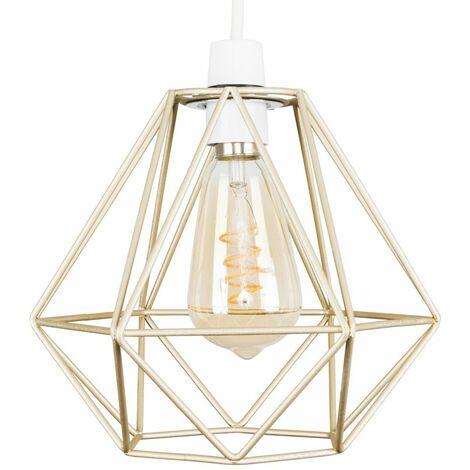Gold Metal Ceiling Pendant Light Shade - 4W LED Helix Filament Bulb 2200K Warm White