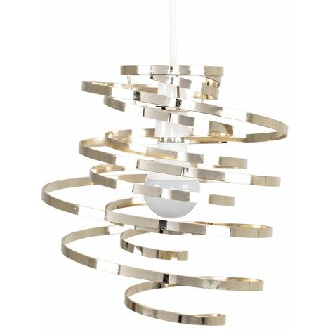 Gold Metal Spiral Swirl Ceiling Pendant Light Shade + 4W LED Filament Bulb - Warm White