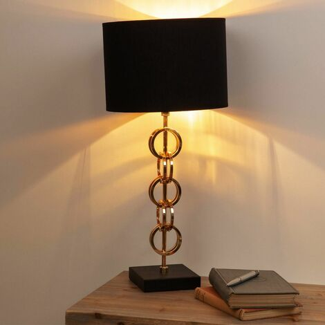 Gold Metal Table Lamp with Black Cotton Shade