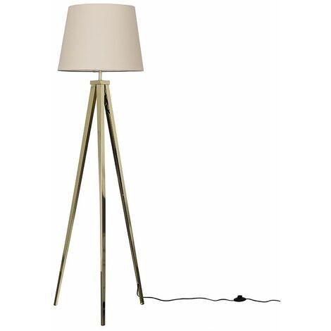 Gold Metal Tripod Floor Lamp + Beige Shade + 6W LED Gls Bulb Warm White