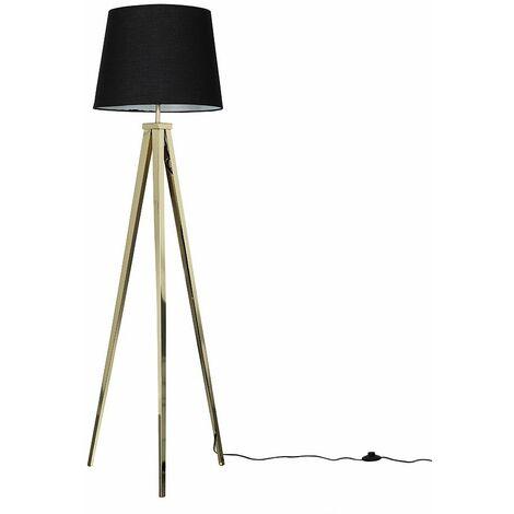 Gold Metal Tripod Floor Lamp + Black Shade + 6W LED Gls Bulb Warm White