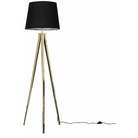Gold Metal Tripod Floor Lamp + Black Shade