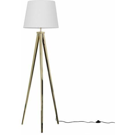 Gold Metal Tripod Floor Lamp + White Shade + 6W LED Gls Bulb Warm White
