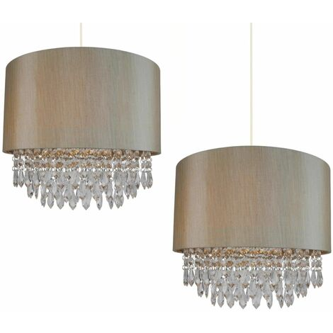 Gold or Silver Ceiling Light Pendant Shade Matching Inner & Clear Droplet Beads