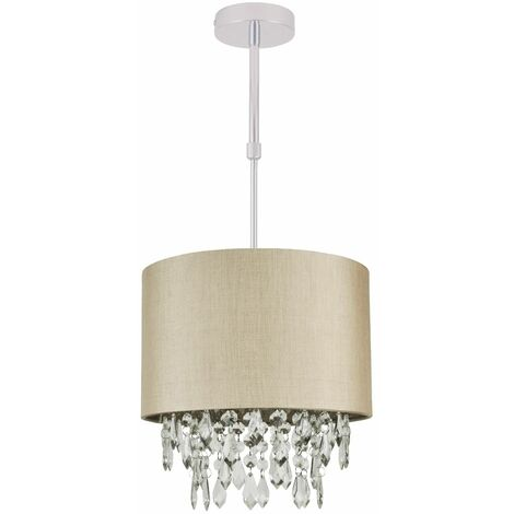Gold or silver Faux Silk Fabric Jewelled Ceiling Light Shade Adjustable Flush